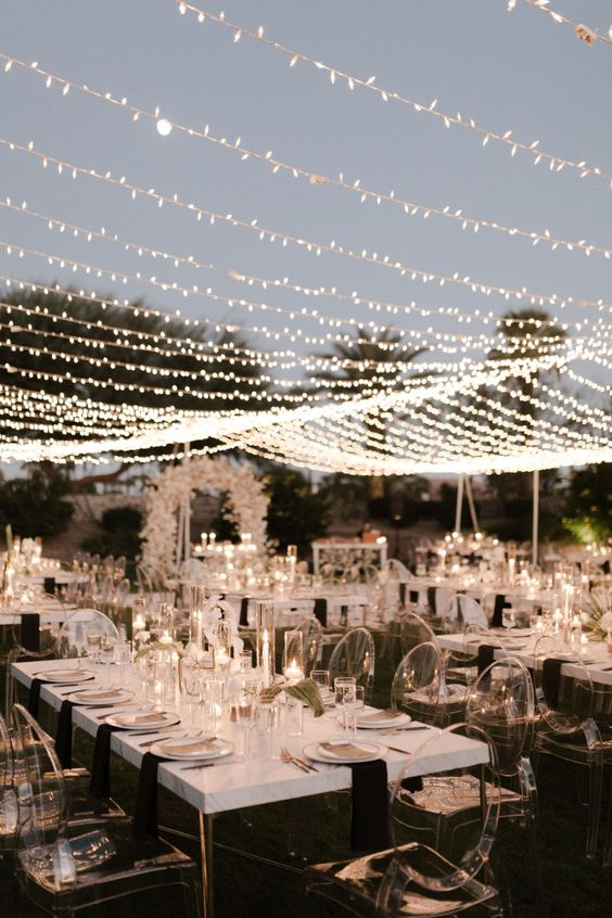 an awesome outdoor black and white wedding reception
