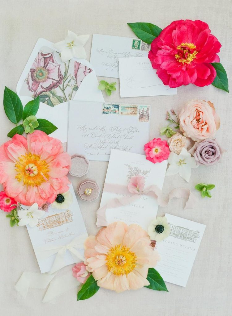 an airy and beautiful wedding invitation suite in neutrals, with floral lining, chateau pictures is a very refined and chic idea