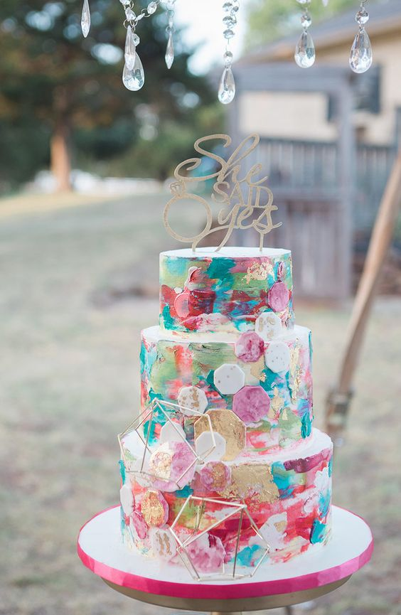 a colorful engagement cake with hexagons and himmeli plus a calligraphy topper can be rocked for a wedding, too