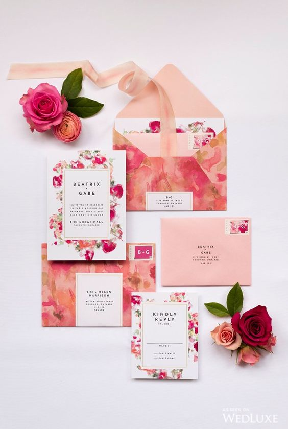 a bold and cheerful watercolor wedding invitation suite in pink shades is a very lovely idea to rock