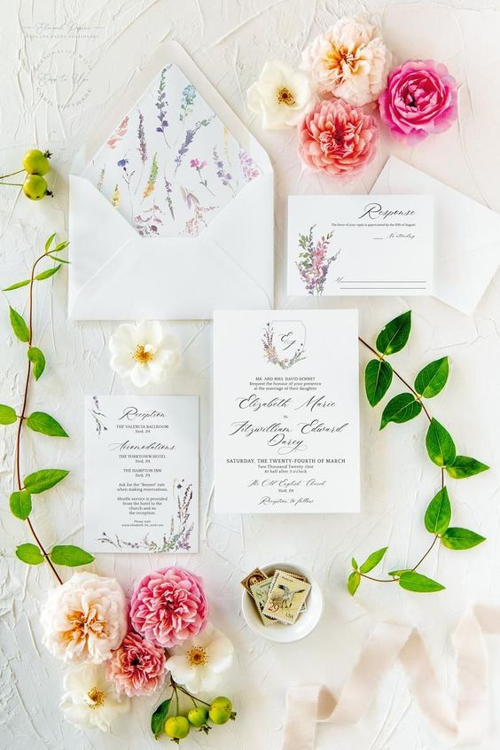 a bright and cute wedding invitation suite with floral prints is a lovely idea for spring and can be used for summer, too
