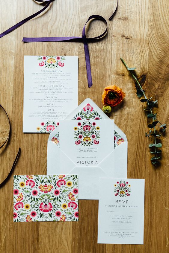 30 a bright floral invitation suite in pink and yellow for a fun Mexican-inspired wedding is cool
