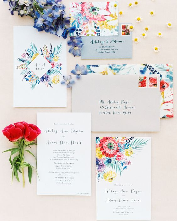 a bright watercolor floral wedding invitation suite is a fun and cheerful idea to rock in summer or in spring