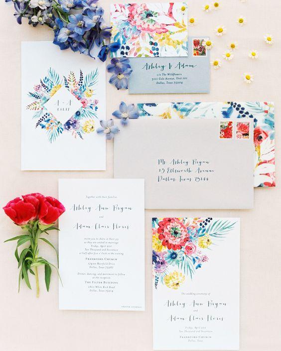 a watercolor wedding invitations suite