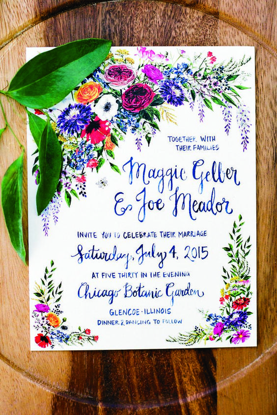 38 a very colorful floral invitation is ideal for a summer wedding, boho or wildflower meadow one