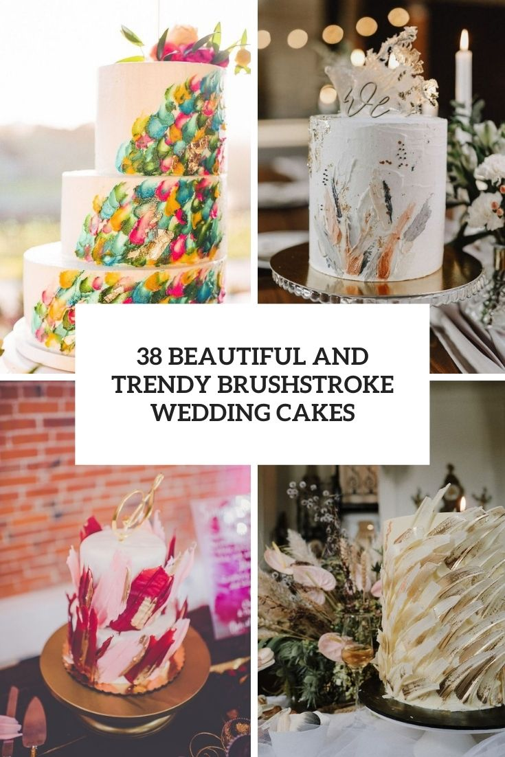 beautiful and trendy brushstroke wedding cakes cover