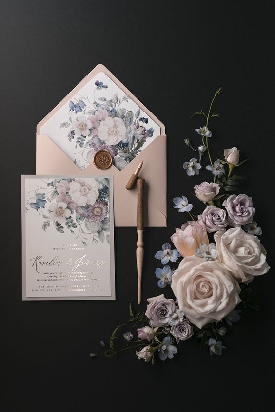 a very tender pastel floral wedding invitation suite with pretty calligraphy is a very chic and beautiful idea for spring