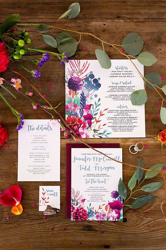 beautiful watercolor floral invitations with calligraphy paired with burgundy envelopes are amazing for summer or fall wedding