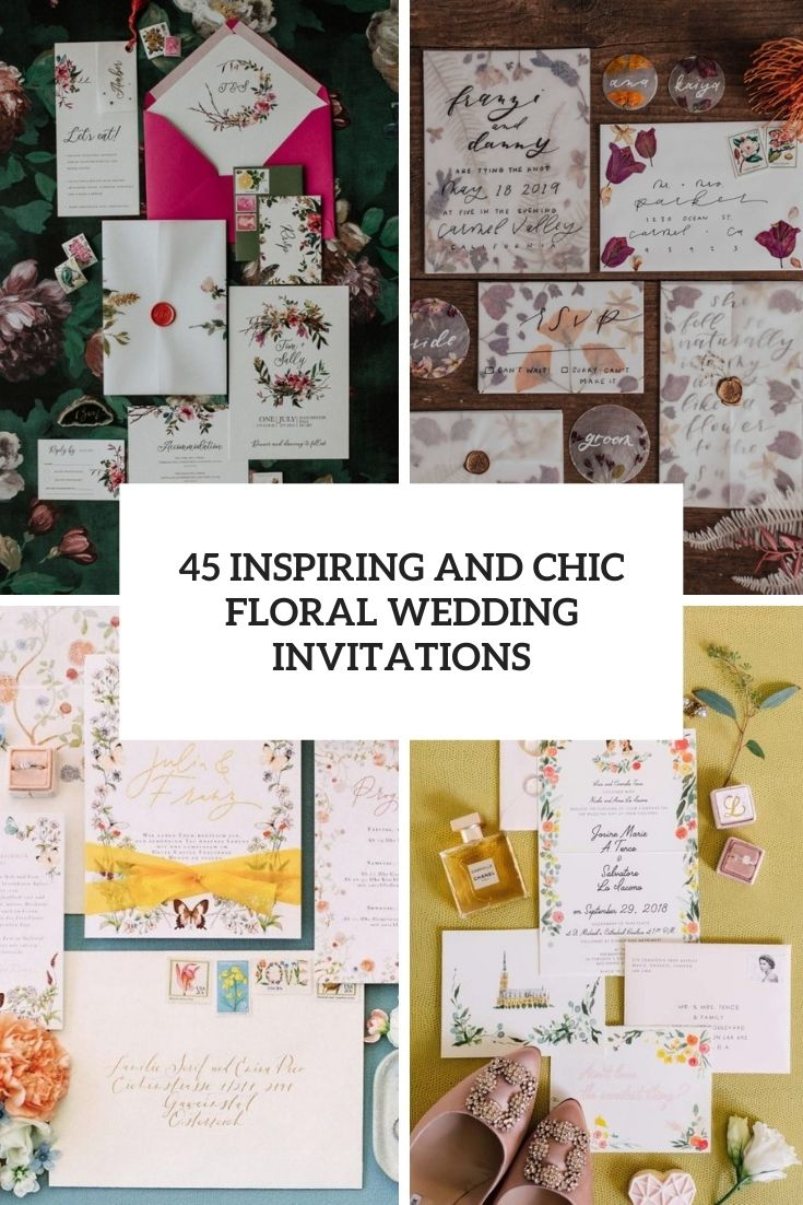 inspiring and chic floral wedding invitations cover