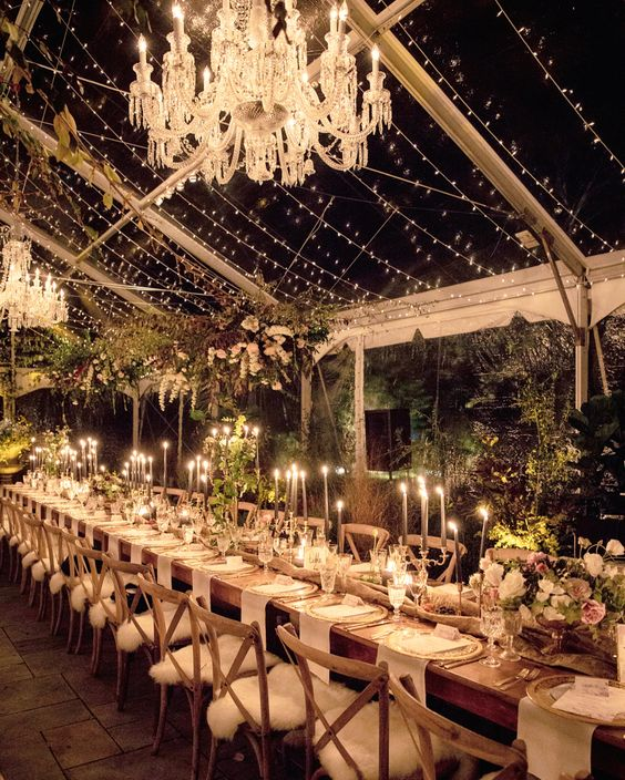 a wedding tent with living walls, hanging installations, refined chandeliers and a whole light canopy over the space