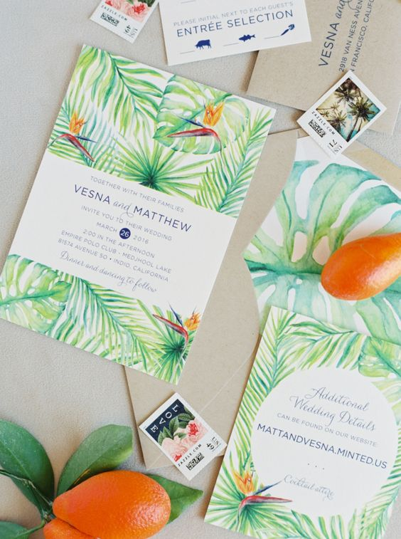 a bright and colorful tropical wedding invitation suite with handpainting is a very cool idea for a retro-inspired wedding