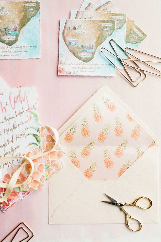 a creative colorful tropical wedding invitation suite with handpainting is a very cool and fun idea to rock for your wedding