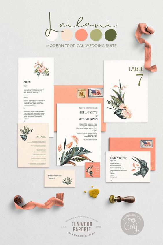 a neutral tropical wedding invitation suite with leaf and flower prints and coral envelopes is a lovely and fresh idea