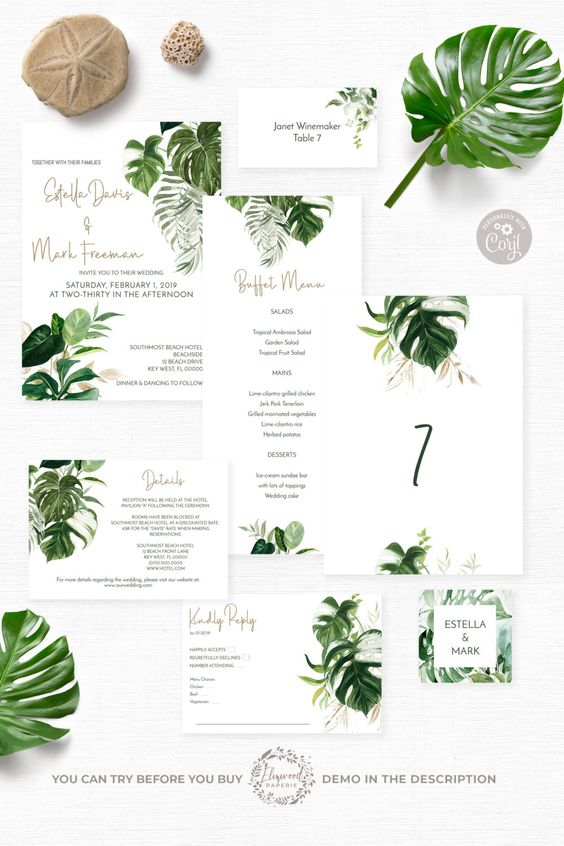 a neutral tropical wedding invitation suite with mismatching leaf prints is a stylish idea for a modern tropical wedding