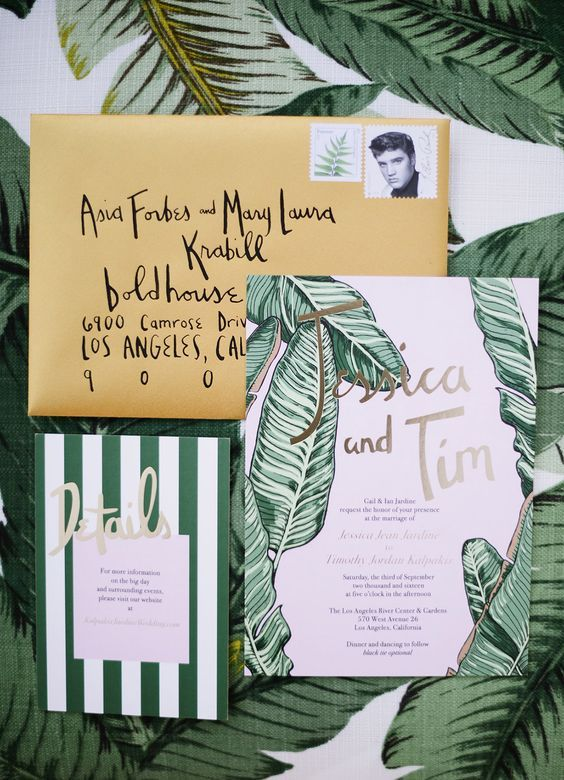 a retro-inspired tropical wedding invitation suite with leaf prints, stripes and a tan envelope is a very cool idea