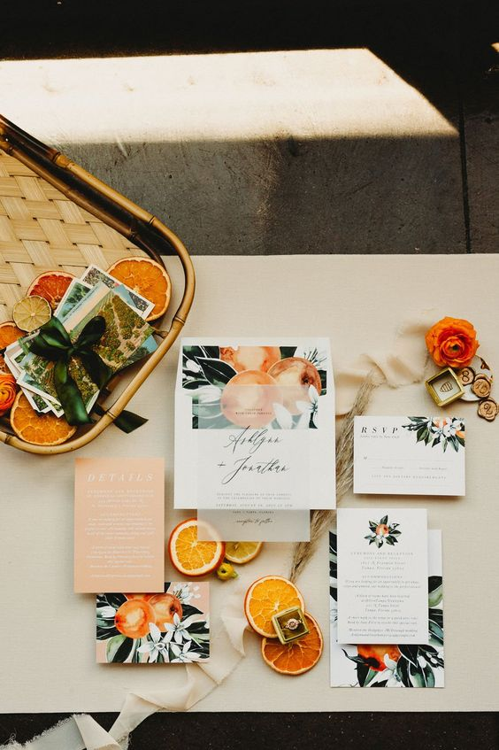 a stylish citrus wedding invitation suite is a great idea for a vintage-inspired tropical wedding