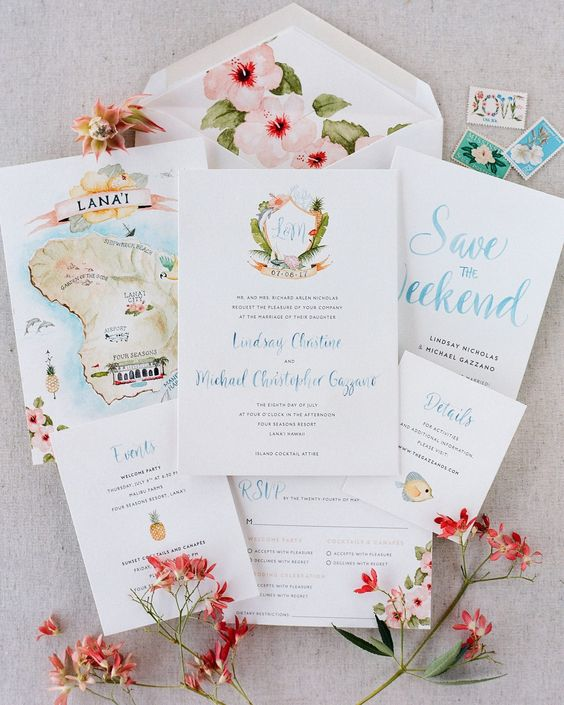 a tropical destination wedding invitation suite with handpainting, florals, fruit and sih and a painted map of the island