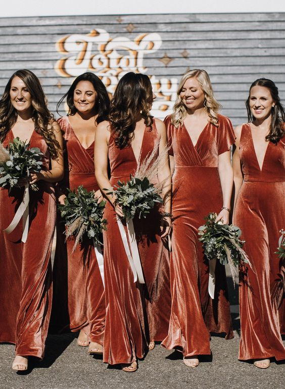 mismatching burnt orange velvet maxi bridesmaid dresses look chic, refined and incredibly beautiful and will add color to your wedding