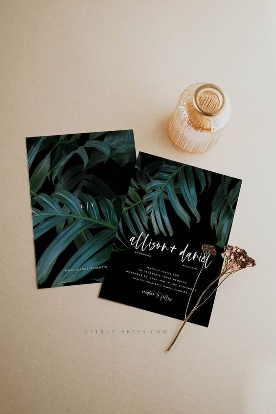 moody and minimalist black tropical wedding invitations with tropical leaf prints are an out of the box solution