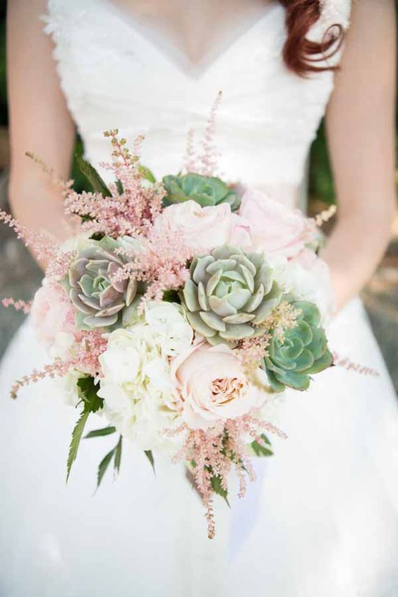 a sweet wedding bouquet with blush astilbe, blush peonies, white hydrangeas and succulents is an amazing idea for spring or summer