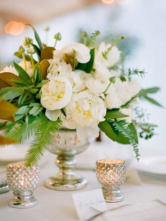23 a fresh and vivacious wedding centerpiece with white peonies and ranunculus, greenery and gfern is a stylish and fresh idea