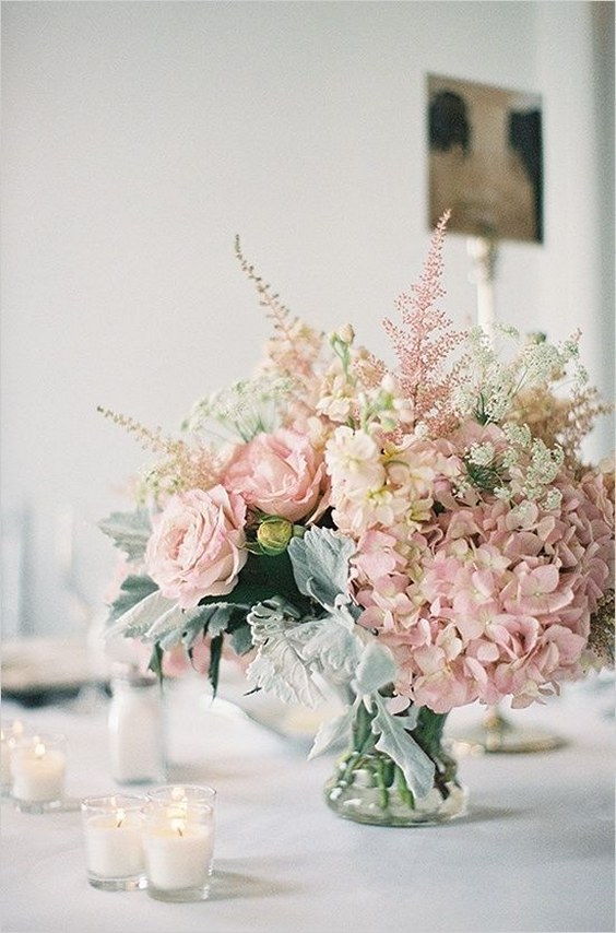a romantic and timeless wedding centerpiece of pale leaves, blush roses and hydrangeas, pink astilbe is a love idea