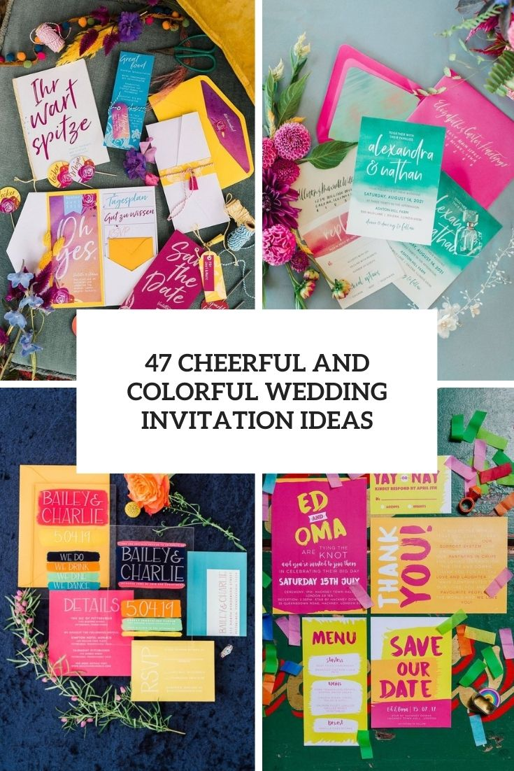cheerful and colorful wedding invitation ideas cover
