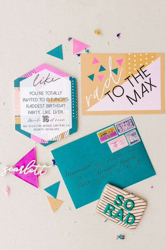 a bold 80s wedding invitation suite in yellow, teal, hot pink and green, with amazing prints and calligraphy and modern letters