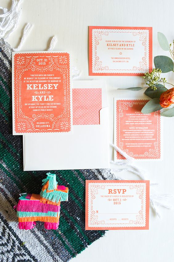 a bright fiesta wedding invitation suite in orange and rust plus white for a contrast is amazing and bold