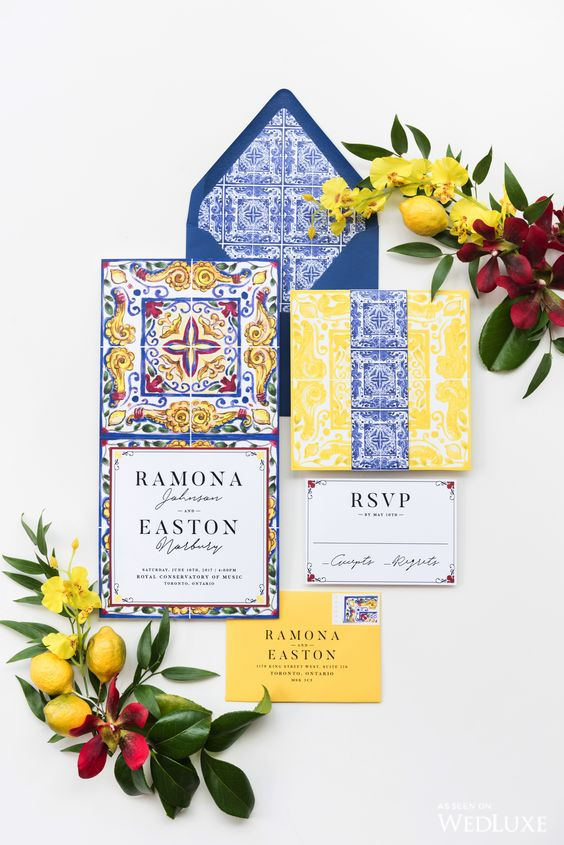 a bright wedding invitation suite inspired by azulejo tiles in yellow and blue, with amazing prints is adorable
