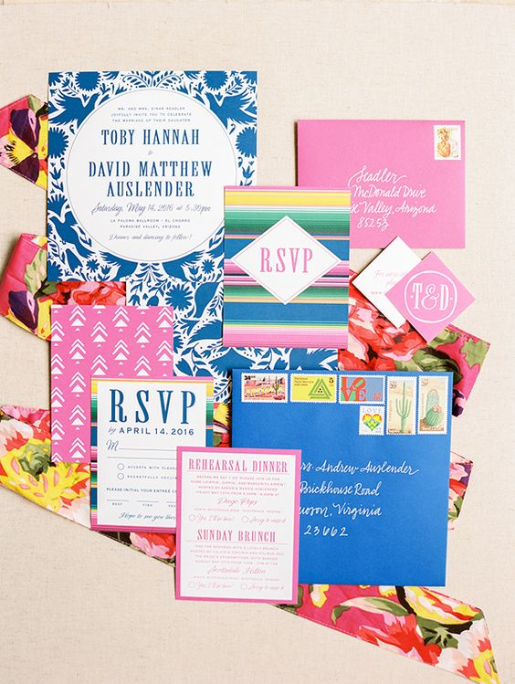a bright wedding invitation suite with floral and botanical stripes, prints and colorful edges for a fiesta wedding