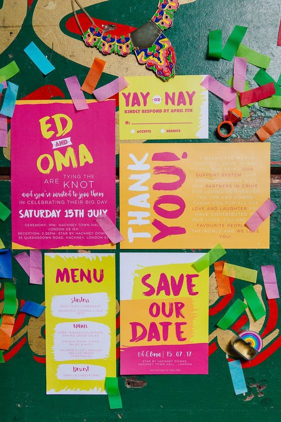 a colorful wedding invitation suite with neon shades - pink, yellow, orange is a gorgeous idea for a party-like wedding