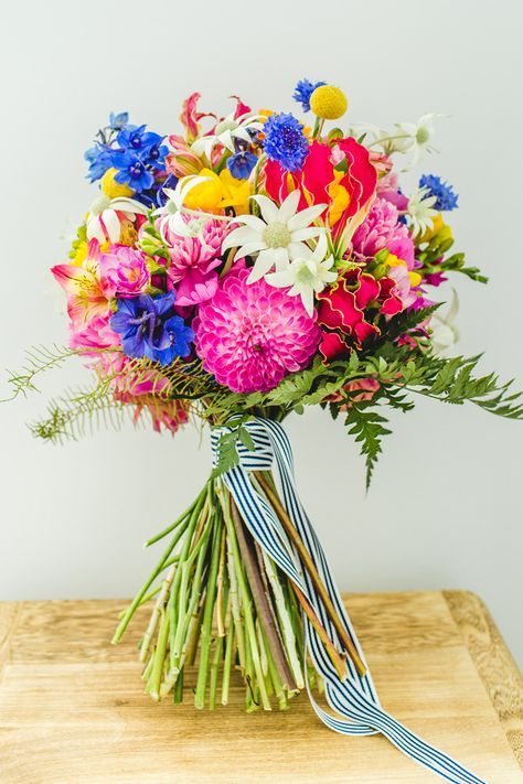 a cool and vibrant wedding bouquet
