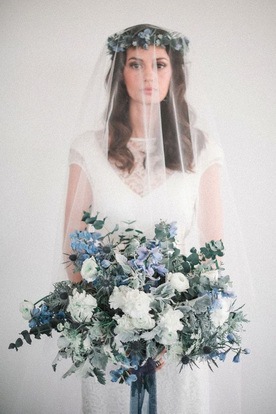 a nautical wedding bouquet done in white and blue, with thistles, roses, hydrangeas, eucalyptus is a very fresh idea