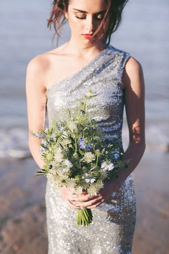 a silver sequin one shoulder fitting wedding dress is a gorgeous solution for a modern nautical bride