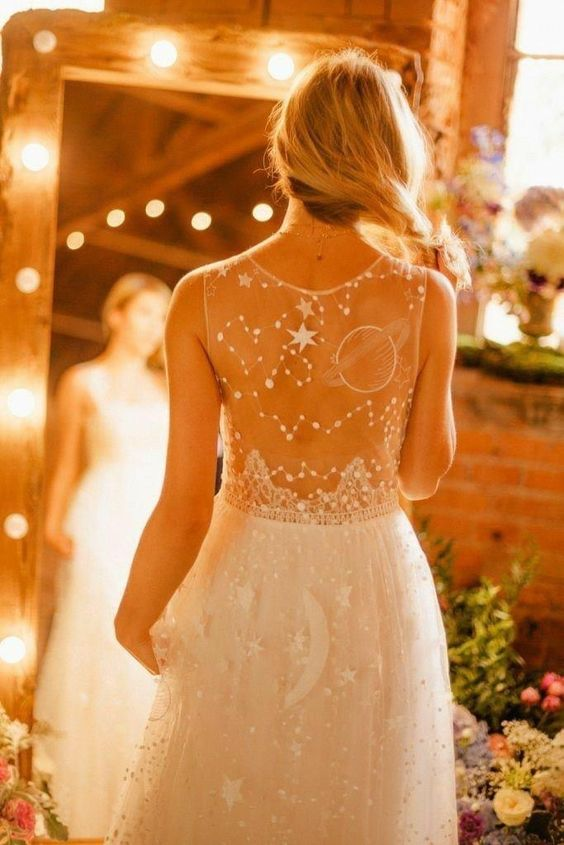 a beautiful celestial wedding gown with constellations, planets and stars embroidered on the dress is a gorgeous idea for a celestial bride