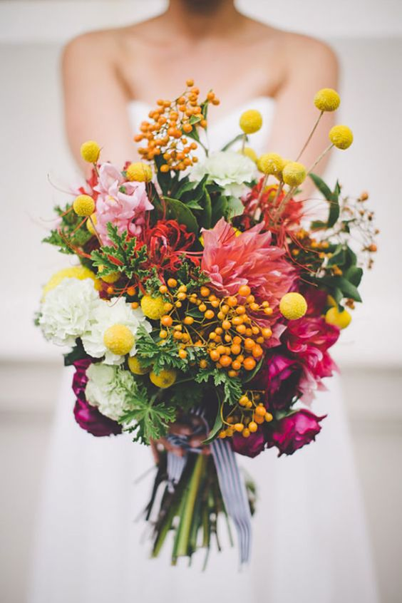 a bright colorful wedding bouquet