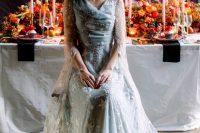 a cute blue wedding dress