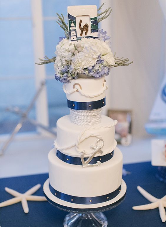 a large nautical wedding cake with rope, an anchor, white and blue hydrangeas, greenery and a framed knot is amazing