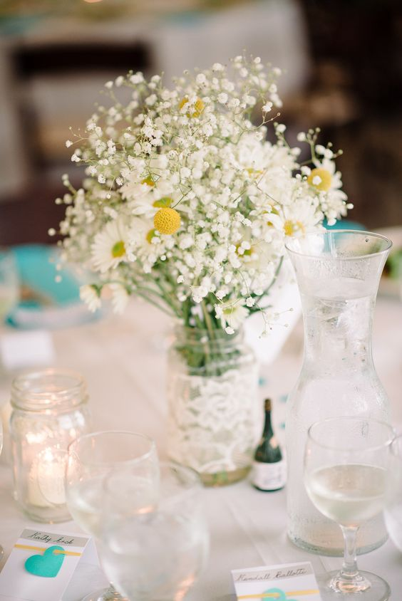 a cute and simple rustic wedding centerpiece