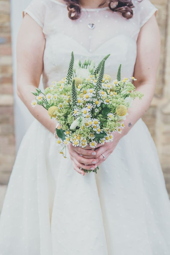 a lovely summer wedding bouquet with billy balls, astilbe and some wildflowers for a summer bride