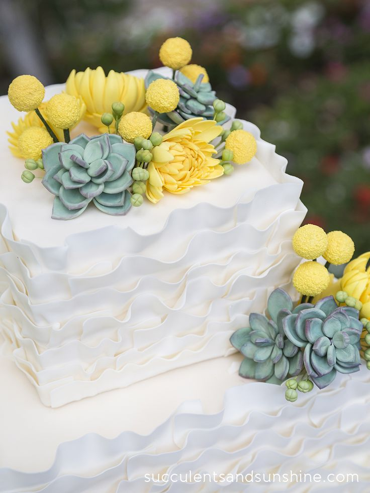 a cute, simple ruffle wedding cake