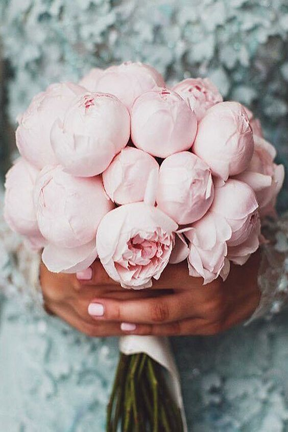 a monochrome blush peony wedding bouquet will never go out of style thanks to its tender look and its ability to give every bridal look a soft and delicate touch