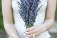a super simple yet cute lavender wedding bouquet