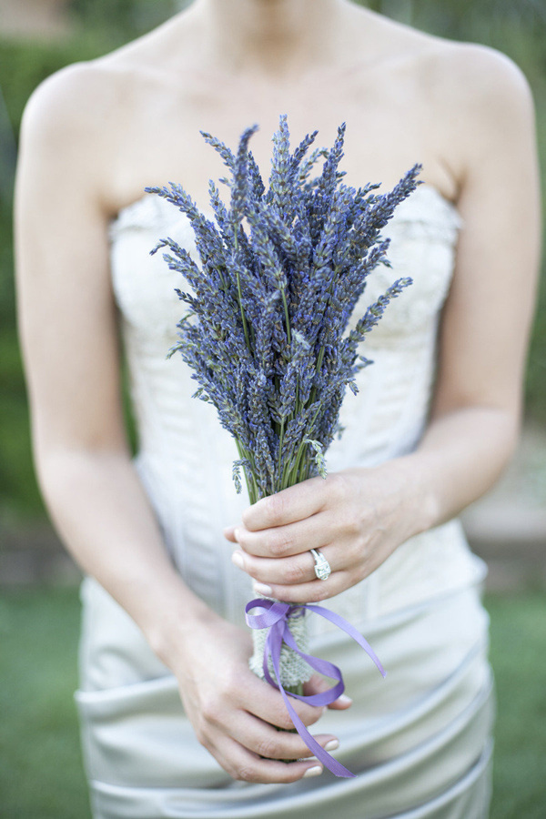 a lavender wedding bouquet won't wither, it will have a lovely calming aroma, great for a summer bride