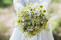 09 a beautiful billy ball, daisies and baby's breath wedding bouquet will be amazing for a mid-century modern, boho or wildflower summer wedding