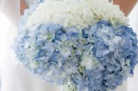 10 a lovely white and blue hydrangea wedding bouquet is a cute way to add your something blue to the look