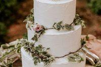 a trendy buttercream wedding cake