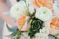 12 a romantic wedding bouquet of peachy peonies and white ranunculus, succulents and greenery is a cool and fresh idea to rock