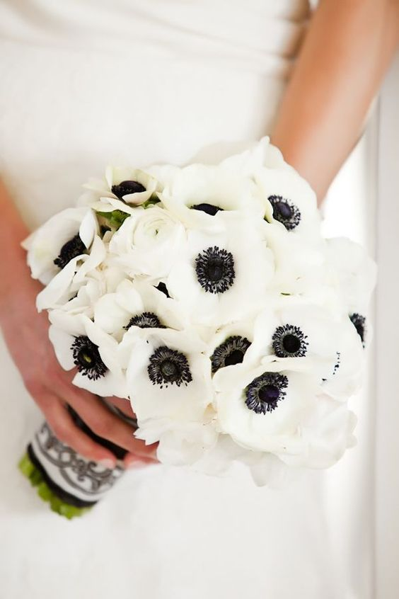 a white anemon wedding bouquet wiht a black and white wrap is a cool idea for a classic black and white wedding
